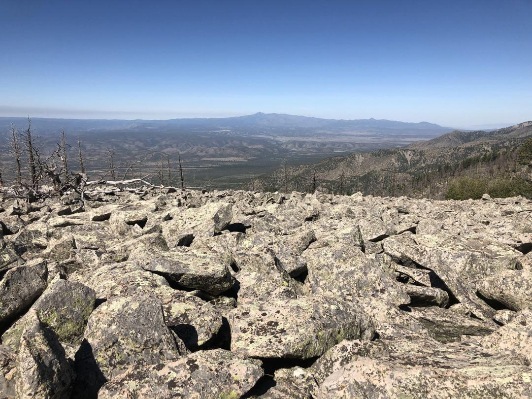 Looking across a talus field east of Pierce Canyon on the Summit Trail toward Sierra Blanca and the White Mountain Wilderness (PC Tobi Nickel)